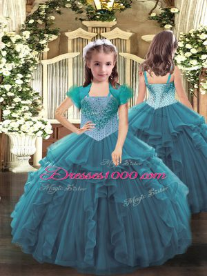Best Beading and Ruffles Kids Formal Wear Teal Lace Up Sleeveless Floor Length