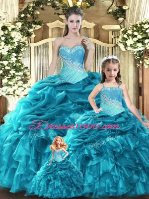 Great Teal Tulle Lace Up Sweetheart Sleeveless Floor Length Vestidos de Quinceanera Beading and Ruffles and Ruching and Pick Ups