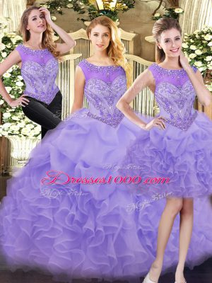 New Style Sleeveless Beading and Ruffles Zipper Quinceanera Dresses
