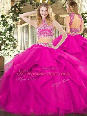 Custom Design Tulle Sleeveless Floor Length 15th Birthday Dress and Beading and Ruffles