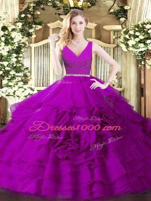 Fuchsia Sleeveless Beading Floor Length Quinceanera Gown