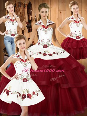 Wine Red Satin and Organza Lace Up Halter Top Sleeveless With Train Quinceanera Gowns Sweep Train Embroidery and Ruffled Layers