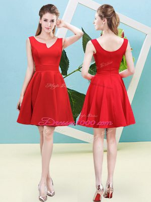 Luxurious Red Asymmetric Neckline Ruching Bridesmaid Dresses Sleeveless Zipper