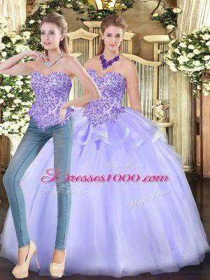 Appliques Quinceanera Dresses Lavender Zipper Sleeveless Floor Length