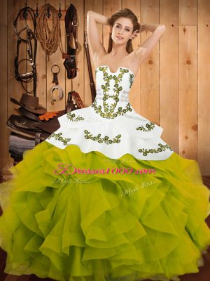 New Style Olive Green Satin and Organza Lace Up Strapless Sleeveless Floor Length Sweet 16 Quinceanera Dress Embroidery and Ruffles