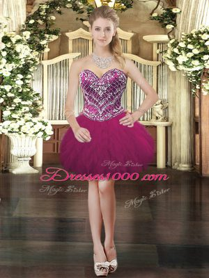 Fuchsia Ball Gowns Tulle Sweetheart Sleeveless Beading and Ruffles Mini Length Lace Up Prom Dresses