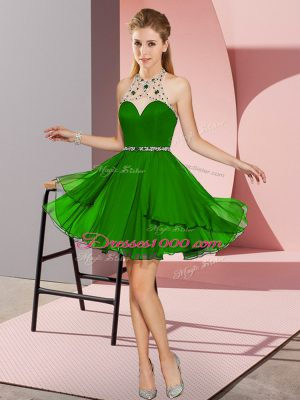 New Style Green Sleeveless Beading Mini Length Prom Gown