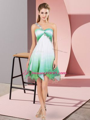 Multi-color Empire One Shoulder Sleeveless Fading Color Asymmetrical Lace Up Beading Prom Gown