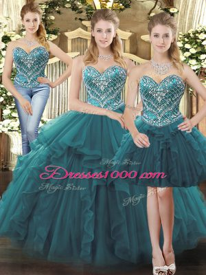 Teal Sweetheart Neckline Beading and Ruffles Quinceanera Gowns Sleeveless Lace Up