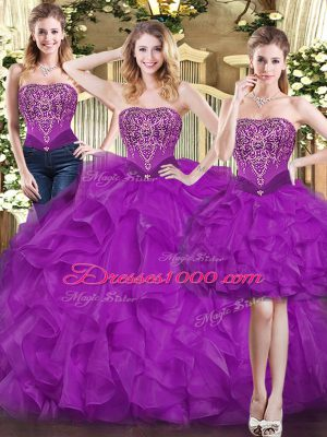 Spectacular Purple Three Pieces Sweetheart Sleeveless Organza Floor Length Lace Up Beading and Ruffles Ball Gown Prom Dress