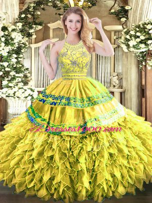 Floor Length Yellow Green Quinceanera Gowns Halter Top Sleeveless Zipper