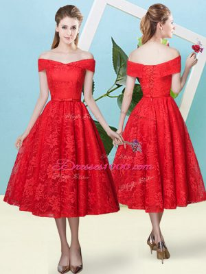 Customized Red Empire Lace Off The Shoulder Cap Sleeves Bowknot Tea Length Lace Up Quinceanera Court of Honor Dress