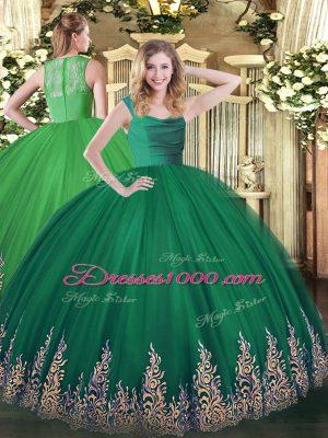 Ball Gowns 15th Birthday Dress Dark Green Straps Tulle Sleeveless Floor Length Zipper