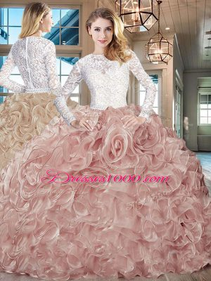 Custom Fit Pink And White Ball Gowns Scoop Long Sleeves Lace and Fabric With Rolling Flowers Brush Train Lace Up Beading and Ruffles Ball Gown Prom Dress