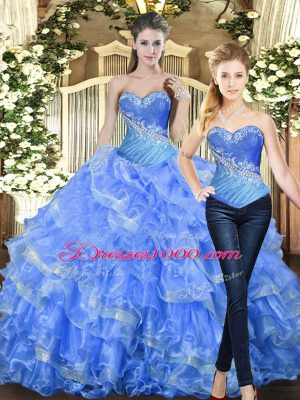 Lovely Tulle Sleeveless Floor Length 15 Quinceanera Dress and Beading and Ruffles