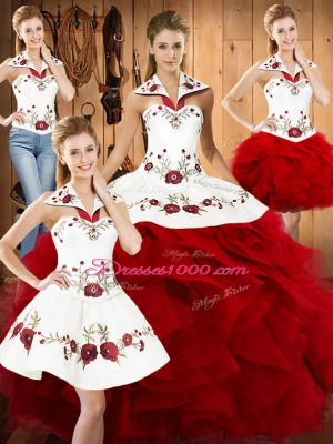 Embroidery and Ruffles Quinceanera Gowns Wine Red Lace Up Sleeveless Floor Length