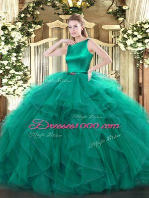 Organza Sleeveless Floor Length Quinceanera Dress and Ruffles