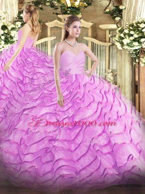Lilac Lace Up Sweetheart Beading and Ruffled Layers Sweet 16 Dresses Organza Sleeveless Brush Train