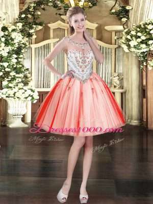 Gorgeous Ball Gowns Prom Dress Coral Red Scoop Tulle Sleeveless Mini Length Zipper