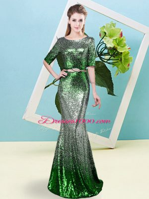 Fashion Multi-color Mermaid Scoop Half Sleeves Sequined Floor Length Zipper Sequins and Belt Party Dress Wholesale