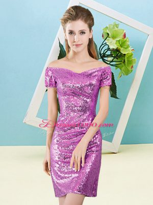 Mini Length Zipper Juniors Party Dress Lilac for Prom and Party with Sequins