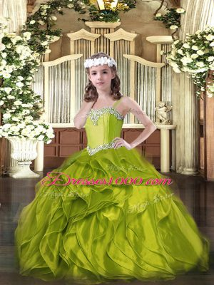 Floor Length Olive Green Pageant Dress Wholesale Organza Sleeveless Beading and Ruffles