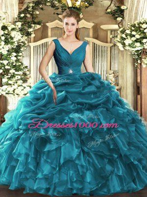 Floor Length Ball Gowns Sleeveless Teal Sweet 16 Quinceanera Dress Backless