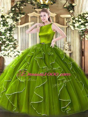 Glittering Scoop Sleeveless Clasp Handle Sweet 16 Dress Olive Green Organza