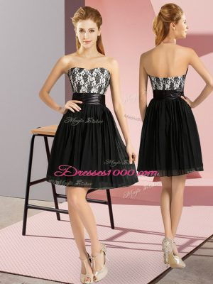 Fitting Black Prom and Party with Lace Sweetheart Sleeveless Zipper