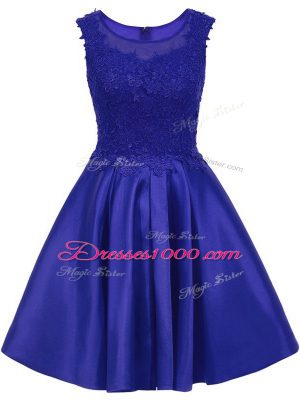 Artistic Lace Wedding Party Dress Blue Zipper Sleeveless Mini Length