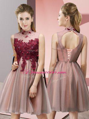 Luxurious Sleeveless Appliques Lace Up Dama Dress