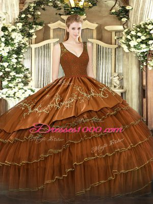 V-neck Sleeveless Zipper Sweet 16 Dress Brown Satin and Tulle