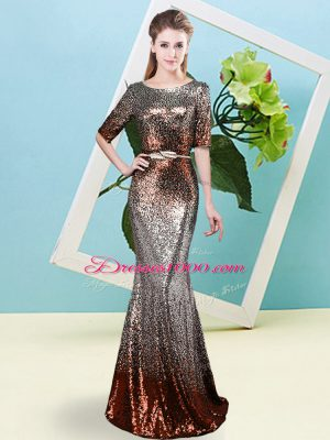 Sequined Scoop Half Sleeves Zipper Sequins and Belt Homecoming Dress in Multi-color