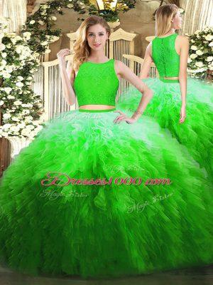 Custom Design Green Sleeveless Floor Length Lace and Ruffles Zipper Quinceanera Dresses