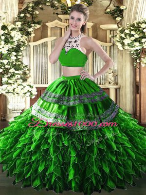 High-neck Sleeveless Backless Ball Gown Prom Dress Green Tulle
