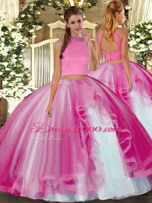 Beading and Ruffles Sweet 16 Quinceanera Dress Hot Pink Backless Sleeveless Floor Length