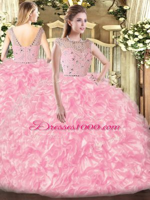 Hot Selling Sleeveless Tulle Floor Length Zipper Quinceanera Dresses in Rose Pink with Beading and Ruffles