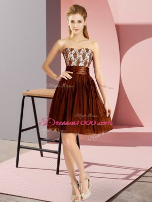 Empire Prom Dresses Brown Sweetheart Chiffon Sleeveless Mini Length Zipper
