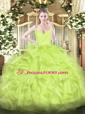 Comfortable Floor Length Yellow Green Quinceanera Dress Organza Sleeveless Ruffles