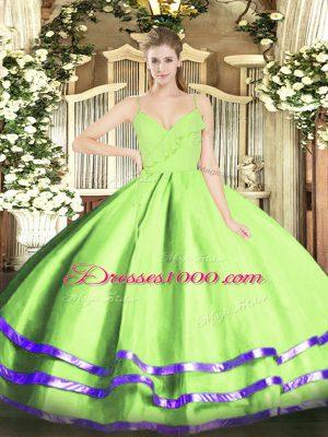 Customized Sleeveless Zipper Floor Length Ruffled Layers 15 Quinceanera Dress