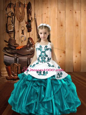 Teal Lace Up Little Girls Pageant Gowns Embroidery and Ruffles Sleeveless Floor Length