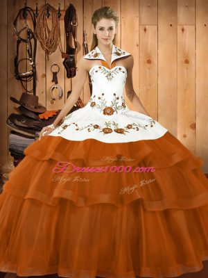 Embroidery and Ruffled Layers Quince Ball Gowns Rust Red Lace Up Sleeveless Brush Train