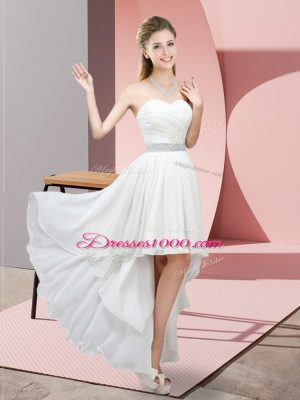 Lovely White Chiffon Lace Up Wedding Guest Dresses Sleeveless High Low Beading