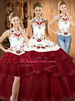 Simple Sleeveless Satin and Organza With Train Sweep Train Lace Up Sweet 16 Dresses in Wine Red with Embroidery and Ruffled Layers
