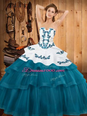 Pretty Teal Strapless Neckline Embroidery and Ruffled Layers Quinceanera Dress Sleeveless Lace Up