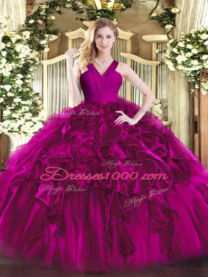 Colorful Fuchsia Ball Gowns Organza V-neck Sleeveless Ruffles Floor Length Zipper 15 Quinceanera Dress