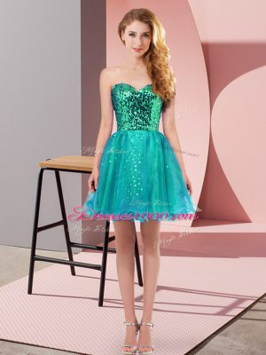 Charming Teal Zipper Sweetheart Sequins Prom Gown Tulle Sleeveless