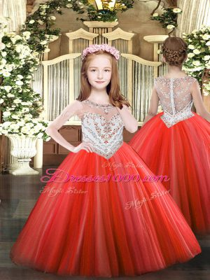 Enchanting Coral Red Sleeveless Tulle Zipper Kids Formal Wear for Party and Quinceanera