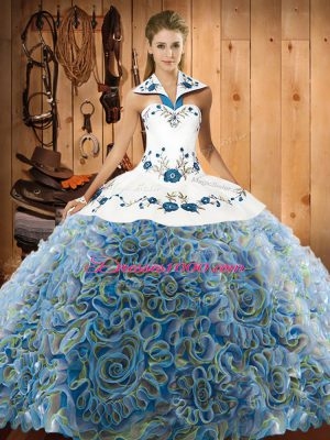 Artistic Halter Top Sleeveless Sweep Train Lace Up Sweet 16 Dresses Multi-color Fabric With Rolling Flowers