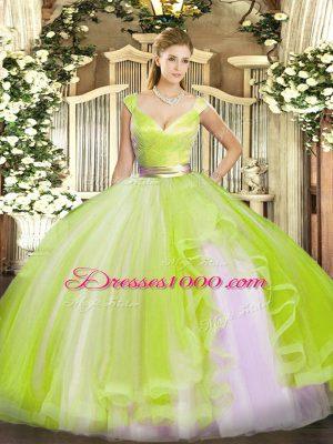 Yellow Green Ball Gowns V-neck Sleeveless Tulle Floor Length Zipper Beading and Ruffles Sweet 16 Dresses